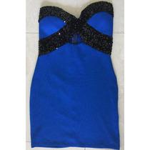 Vestido Azul Gala Fiesta Noche Corto Divino Nuevo!