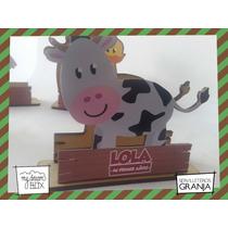 Servilletero Evento Personalizado Madera Animal Granja Vaca