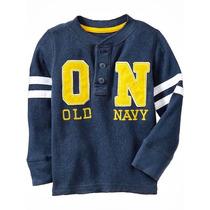 Old Navy - Remera Henley Térmica Con Aplique Logo 4t Y 5t