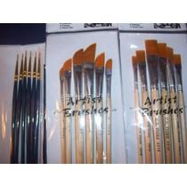 Set De 18 Pinceles Artistica Chatos Angular Liner Acrilico