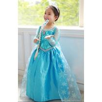 Disfraz Elsa Frozen, Con Corona, Mechon Y Cetro Unicooos!!!!