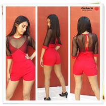 Mono Short Corto De Bengalina Mujer Rojo Con Tull Fiesta