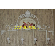 Perchero De Pared Chapa Hierro 4 Perchas Vintage Shabby Chic
