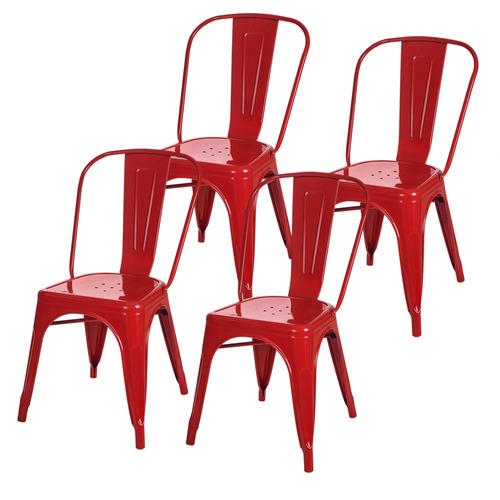 Combo 4 Sillas Tolix Metálicas Diseño Rojo