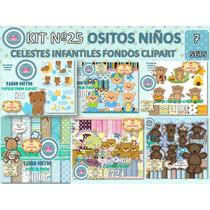 1 Kit Imprimible X 7 Sets Ositos Niño Celest Varon Baby Bebe