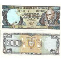 Billete Ecuador 20.000 Sucres Año 1999 Sin Circular