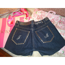 Short Azul Jeans Makers Tachas Metalicas Talle 27 + Shine
