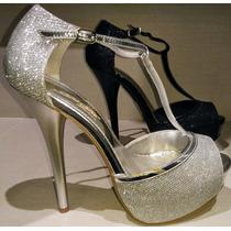 Zapatos De Fiesta Negros Y Plateados!! Envío Gratis!!
