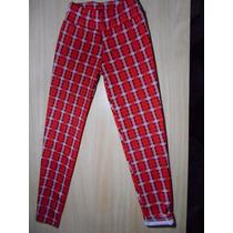Calzas Mujer Escocesas Invierno Termicas Cuadrille Leggings