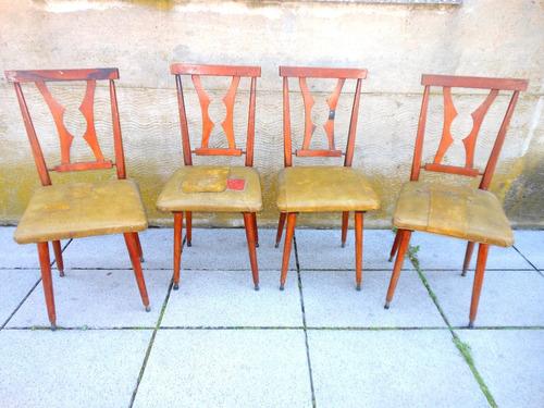 Antiguo lote 4 sillas de madera estilo americano a tapizar - Tapizar sillas de madera ...