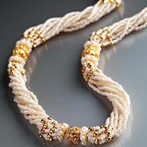 Collar De Perlas De Vidrio Y Perlas Cultivadas. Stauer.