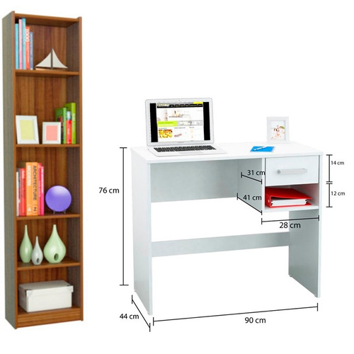 Combo mueble biblioteca 5 estantes mini escritorio pc en for 1146 table doesn t exist