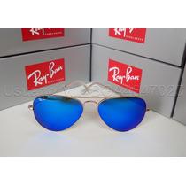 Anteojos De Sol Ray Ban Aviator Flash Lenses Azul Talle 62