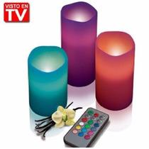 Kit 3 Velas Multicolor Led Control Remoto Efectos Luz Cera