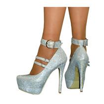 Zapatos De Fiesta Color Plata Con Evillas