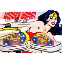 Zapas Pintadas/customizadas Personalizadas Mujer Maravilla