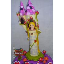 Torre De Rapunzel. Adorno Para Torta En Porcelana Fria