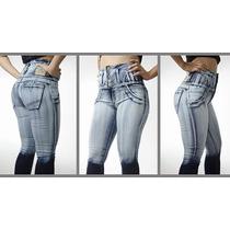 Jeans Elástizados Tiro Alto Con Faja Levanta Cola T 52-54-56
