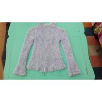 Hermoso Y Suave Sweater Celeste Tejido A Mano Sin Estrenar