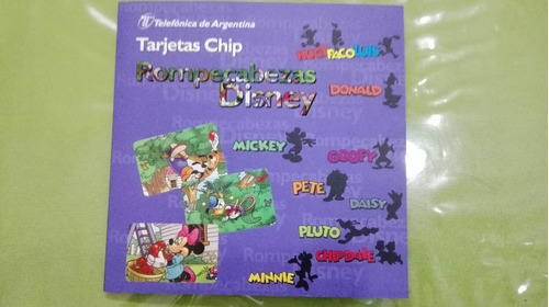 da253b45097 Tarjetas Telefonicas Disney Rompecabezas 8 Fichas Completo