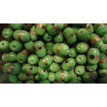 Piedras Para Collar Verdes Y Dorado Por 25 Unidades.