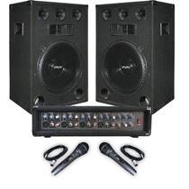 Combo Consola Potenciada 400w 2 Bafles 15 + 2 Microfonos