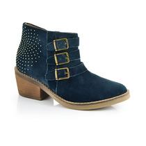 Botas Con Tachas De Cuero Azul Lin Leopolda