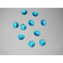 Lote De 10 Botones De 14 Color Turquesa De Cristal