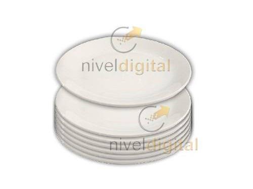 Set 6 plato playo porcelana blanca 23 cm bar parrilla - Platos porcelana blanca ...