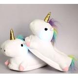 Pantuflas Unicornio Con Luces - Adultos Y Niños - 28 Al 39
