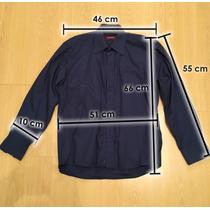 Camisa Varonil De Niño De Vestir Color Azul Oscuro Impecable