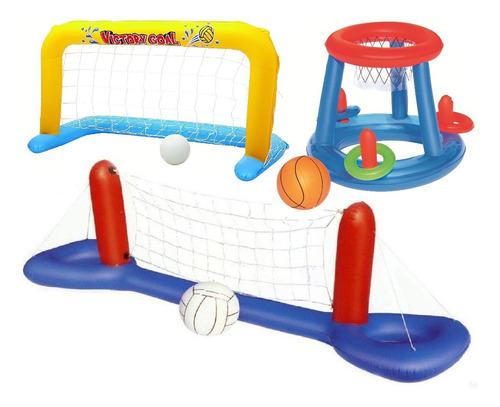 Combo Inflables Red Voley Arco Y Basket Piletas Agua Juguete