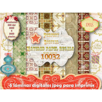 Kit Imprimible 6 Fondos Navidad Retro + Moldes Cajitas 3x1