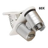 Microscopio Lupa 60x Con Clip Celular Tablet Con Luz Led
