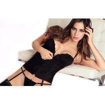 Corset Taza Soft + Tanga Y Portaligas Sexy Erotico Mordisco