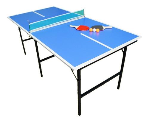 Mesa Ping Pong Familiar Plegable + 2 Paletas + Pelotas + Red