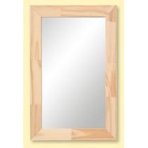 Espejo Reflejar Rectangular Con Marco Madera 39 X 59 Cm Baño