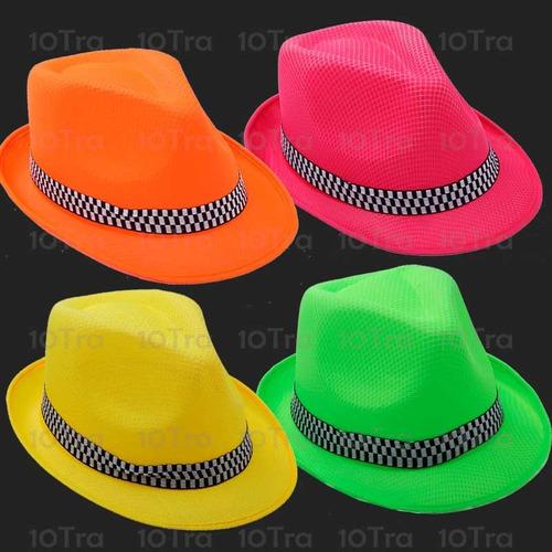 5708eb9501fc4 Gorro Sombreros Tanguero Fluo Jazz Fiesta Cumpleaños Cotillo