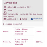 2 Entradas Teatro Colon El Principito( 1 Adulto Y 1 Niño)