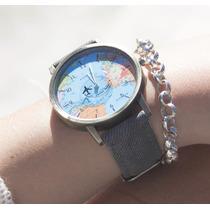ccdd4b221610 Reloj Mundo Mapamundi Original Avion Que Gira Varios Colores en ...