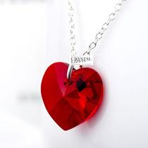 San Valentin Dije Corazon Rojo 18mm Swarovski Elements