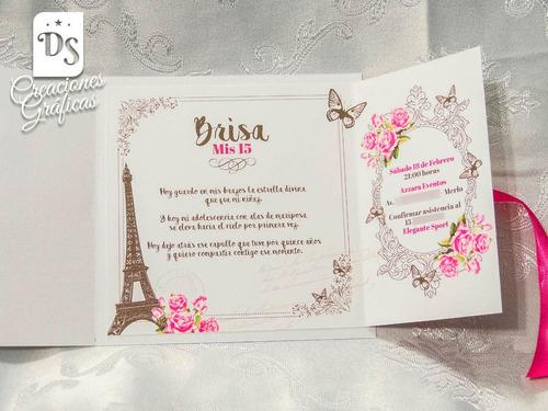 Tarjetas Invitaciones 15 Años Paris Princesa 77 En