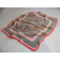 Manta Tejida A Mano Crochet 70*80 Cm Rosa Gris Rojo