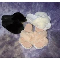 Sandalias Mujer Peluche Cruzadas Negro Nude Blanco Piel
