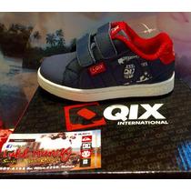Zapatilla Qix Logo Strap Azul C/ Velcro Baby *zona Munro*