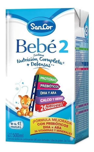 Leche De Fórmula Líquida Sancor Bebé 2 Por 12 Unidades De 500ml