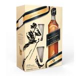 Estuche Whisky Johnnie Walker Black Negro + 2 Vasos X 750cc