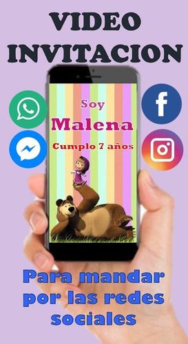 Video Tarjeta Invitación Virtual De Masha Y El Oso Compra Y