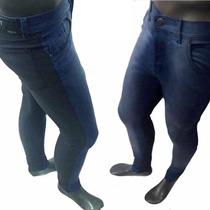 Pantalón De Jean Combinado Azul Y Negro Toca Chupin Moderno