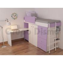 Cama Infantil Juvenil 1 Plaza, Placard,escritorio Y Cajonera